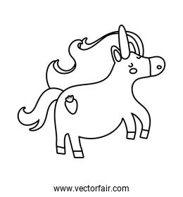 cute unicorn with carrot tatto magical character line style icon
