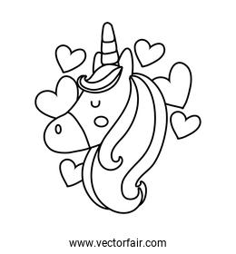cute unicorn head with hearts line style icon