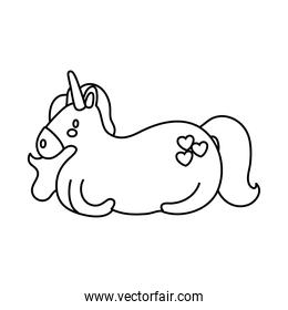 cute unicorn with hearts magical horse line style icon