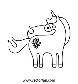 cute unicorn with floral tattoo line style icon