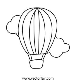 balloon air hot flying line style icon