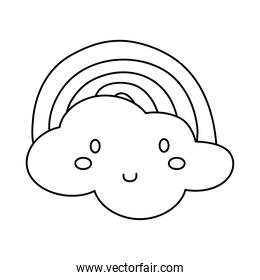 cute clouds and rainbow kawaii line style icon