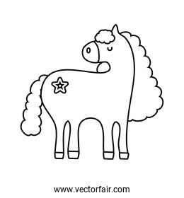 cute unicorn with star tattoo line style icon