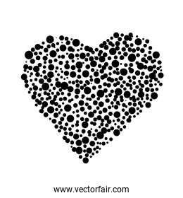 heart love dotted work art silhouette style