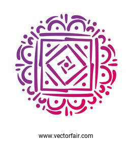 pink square mandala floral silhouette style icon