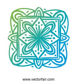 square mandala floral silhouette style icon
