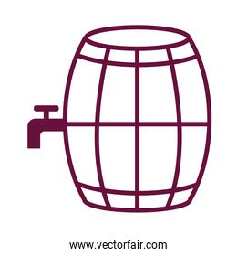 wine wooden barrel with tap line style icon
