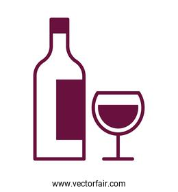 wine cup drink and bottle line style icon