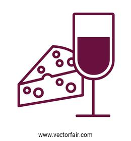 wine cup drink with cheese portion line style icon