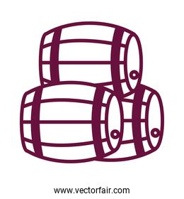 pile of wine wooden barrels line style icon