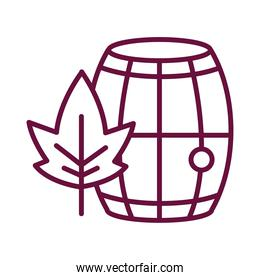 wine wooden barrel with leaf line style icon