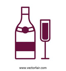 champagne cup and bottle drink line style icon