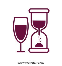 wine cup with hourglass line style icon