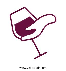 hand with wine cup drink line style icon