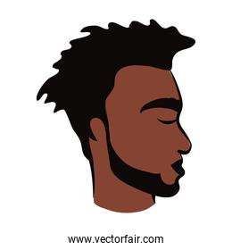 profile young afro man ethnicity with beard flat style icon