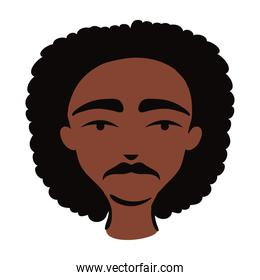 young afro man ethnicity with hairstyle afro flat style icon