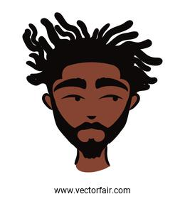 young afro man ethnicity with beard flat style icon