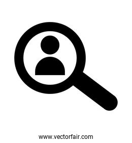 avatar user in magnifying glass silhouette style icon