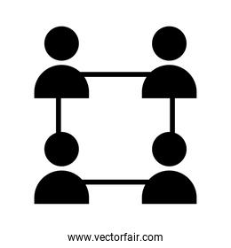 square teamwork people silhouette style icon