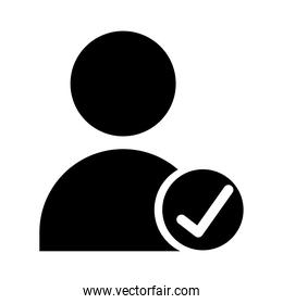 avatar user with check symbol silhouette style icon