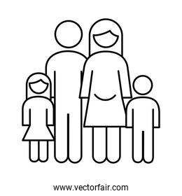 family parents couple with daughter and son figures line style icon