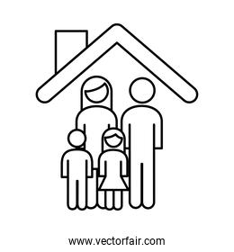 family parents couple with daughter and son in the house line style icon