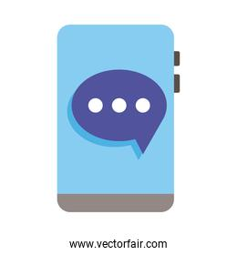 smartphone device with speech bubble flat style icon