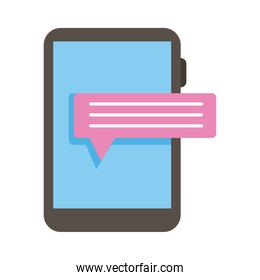 smartphone device electronic with speech bubble flat style