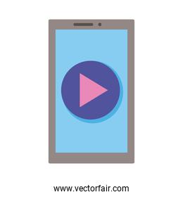 smartphone device with play button flat style icon