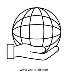 hand lifting sphere world planet line style icon