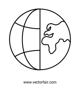 sphere world planet with continents line style icon