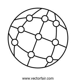 sphere world with points line style icon