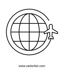 sphere world planet with airplane flying around line style icon