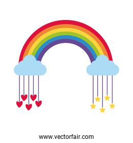 cute rainbow with stars and hearts hanging flat style icon
