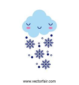cloud sky with snowflakes kawaii comic character flat style