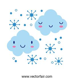 clouds sky with snowflakes kawaii comic character flat style