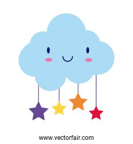 cloud sky with stars hanging kawaii comic character flat style