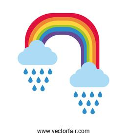 cute rainbow with clouds rainy flat style icon
