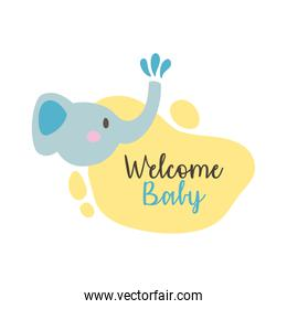 baby shower frame card with elephant and welcome baby lettering hand draw style