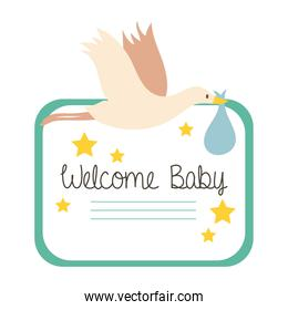 baby shower frame card with stork and welcome baby lettering hand draw style