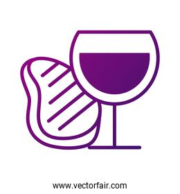 wine cup and meat steak gradient style icon