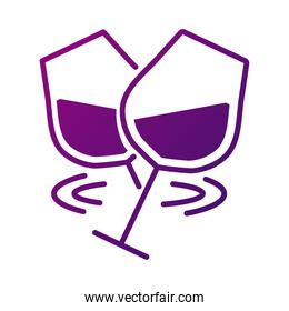 wine cups toasting gradient style icon