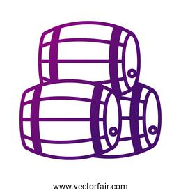 pile of wine wooden barrels gradient style icon