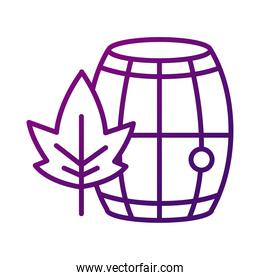 wine wooden barrel with leaf gradient style icon