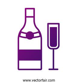 champagne cup and bottle drink gradient style icon