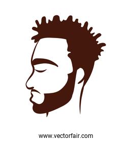 profile young afro man ethnicity with beard silhouette style icon