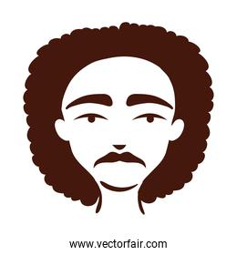 young afro man ethnicity with hairstyle afro silhouette style icon