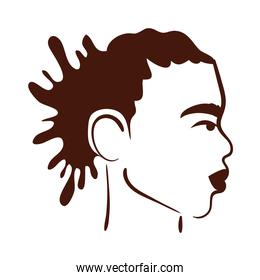 profile young afro man ethnicity with rasta hair style silhouette style icon