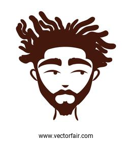 young afro man ethnicity with beard silhouette style icon