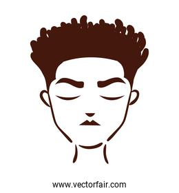 young afro man ethnicity with hairstyle silhouette style icon